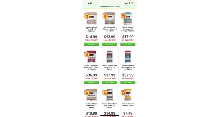 澳洲Swisse部份貨品半價以上發售,超抵!